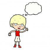 image of attitude boy  - cartoon boy with positive attitude with thought bubble - JPG