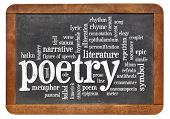 stock photo of poetry  - poetry word cloud on an isolated vintage blackboard - JPG