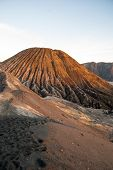 stock photo of bromo  - Sunrise over Bromo volcano and plateau East Java Indonesia - JPG