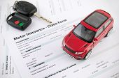 Car Toy And Keys On Insurance Documents . Protection Car Concept poster
