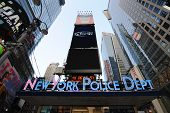 pic of nypd  - New York City Police Department in famous Times Square in New York City - JPG