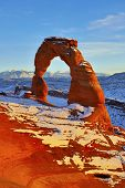 stock photo of turret arch  - Delicate Arch at sunset in Arches National Park Utah in winter - JPG