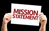 image of statements  - Mission Statement card isolated on black background - JPG