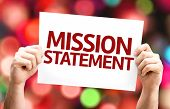 pic of statements  - Mission Statement card with colorful background with defocused lights - JPG