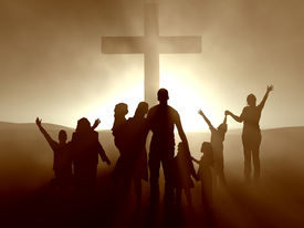 stock photo of christian cross  - Silhouettes of family and people at the cross of Jesus - JPG