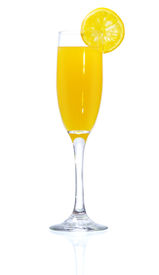 stock photo of mimosa  - Stock image of Mimosa Cocktail over white background - JPG