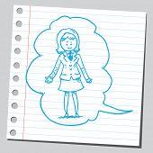 stock photo of bubble sheet  - Businesswoman in comic bubble - JPG