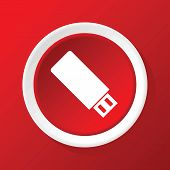 image of usb flash drive  - Round white icon with image of usb flash drive - JPG
