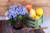 pic of blue-bell  - Blue bell flowers and flowers on wooden background - JPG