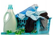 picture of detergent  - Detergents with washing powder and clothes in basket on pale background - JPG