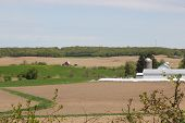 foto of farm  - Rural spring farm fields ready for planting with old farm in background - JPG