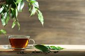 pic of mint-green  - Cup of green tea on table on wooden background - JPG