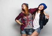 pic of swag  - Fashion portrait of two stylish sexy hipster girls best friends - JPG