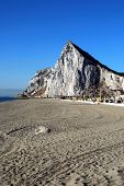 stock photo of gibraltar  - View along the beach towards the Rock of Gibraltar La Linea de la Concepcion Costa del Sol Cadiz Province Andalucia Spain Western Europe - JPG