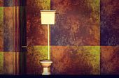 picture of lavabo  - modern bathroom in gold and red color - JPG