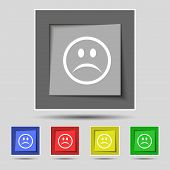 stock photo of sadness  - Sad face Sadness depression icon sign on the original five colored buttons - JPG