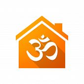 stock photo of om  - Illustration of an orange house icon with an om sign - JPG