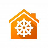 picture of dharma  - Illustration of an orange house icon with a dharma chakra sign - JPG