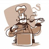 pic of saucepan  - happy cartoon cook with spoon and saucepan - JPG