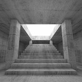 picture of stairway  - Abstract empty dark concrete interior background with columns and the stairway going up to the light 3d render illustration - JPG