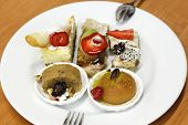 image of dessert plate  - Dessert plate made with five different desserts - JPG