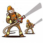 picture of firehose  - firefighter with the hose extinguish a fire - JPG
