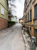picture of old stone fence  - old historical buildings in old town of Kuldiga Latvia - JPG