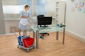 picture of maids  - Young Happy Female Maid Cleaning Floor In Office - JPG