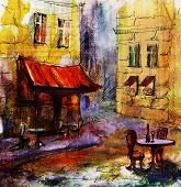 stock photo of french culture  - French  outdoor european cafe painting - JPG
