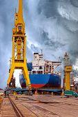 image of shipyard  - Ships and cranes in shipyard of Gdansk Poland - JPG