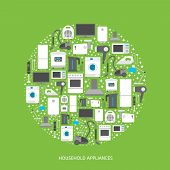 image of household  - Household appliances flat icons with descriptions - JPG