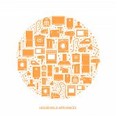 picture of household  - Household appliances flat icons with descriptions - JPG