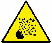 stock photo of bombshell  - Warning bomb triangle signboard in mine cave - JPG