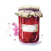 image of masonic  - Fruit jam with a sticker - JPG