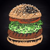 picture of burger  - Colored chalk painted guacamole burger - JPG