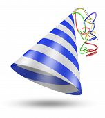 stock photo of birthday hat  - Blue and white striped birthday party hat with colorful ribbons rendered in 3D - JPG