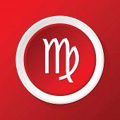image of virgo  - Round white icon with zodiac symbol virgo - JPG