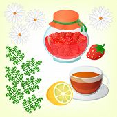 stock photo of get well soon  - Strawberry jam Tea with lemon and Chamomile - JPG