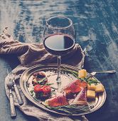 stock photo of red meat  - Wine appetizer set - JPG