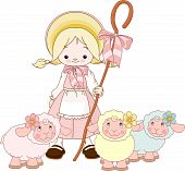 image of shepherdess  - Illustration of charming shepherdess Mary herding sheep - JPG