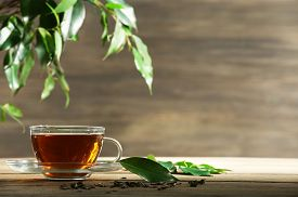 image of mint-green  - Cup of green tea on table on wooden background - JPG