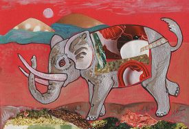 picture of scrappy  - graphic hand draw illustration elephant pattern on red background - JPG