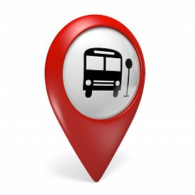 foto of transportation icons  - Red public transport search finder icon with a bus symbol - JPG