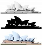 picture of modern building  - vector illustration of the Sydney Opera House - JPG