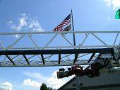 stock photo of burlington  - Spray nozzle attached to ladder truck at Burlington Fire Dept - JPG