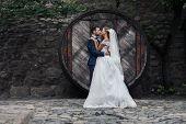 Постер, плакат: Happy Couple Of Newlywed Valentynes Hugging And Posing With Hobbit Style Round Wooden Door Backgroun