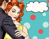Постер, плакат: Love couple Pop Art Couple Pop Art love Valentines day postcard Hollywood movie scene Love Pop A