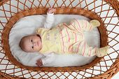 image of bassinet  - Cute little baby girl lying in bassinet - JPG