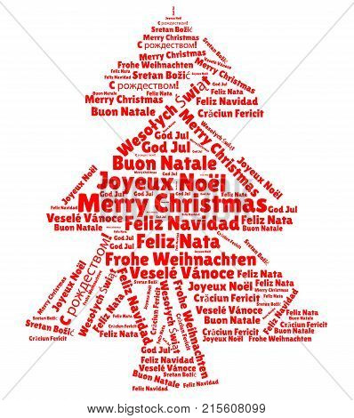 Merry Christmas In Different Languages.Word Cloud With Merry Christmas In Different Languages Poster