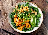 Chickpea, Pumpkin And Avocado Vegetarian Buddhealthy Vegetarian Nourishment Bowl With Chickpea, Gree poster